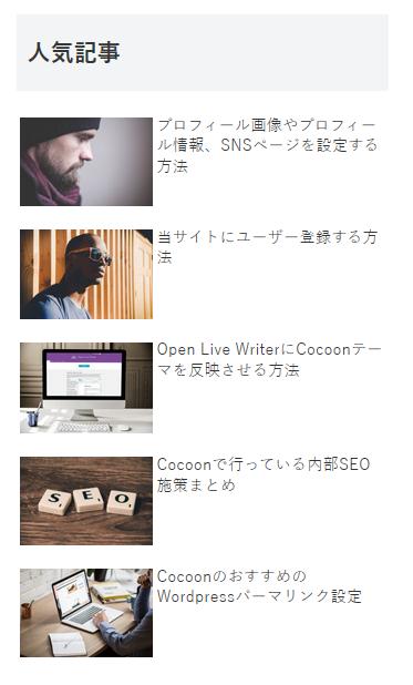 Cocoonの人気記事ウィジェットの表示例