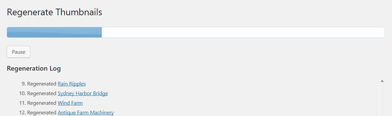 Regenerate Thumbnailsの進捗状況表示