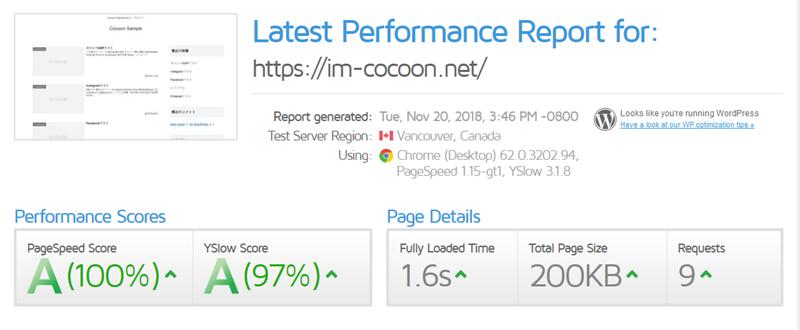 GTmetrixのCocoon計測結果
