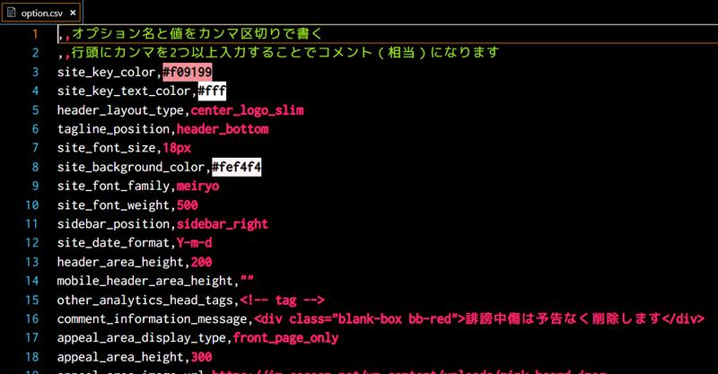 CSVファイルの編集状態