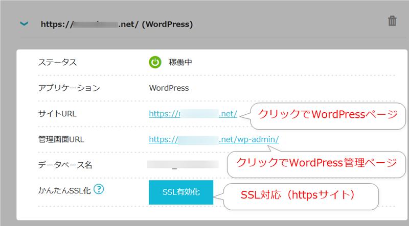 WordPress項目を選択した場合